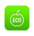eco apple icon digital green vector image vector image