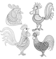 entangle cartoon rooster cock set hand drawn vector image