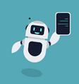 flat robot holding smartphone mascot vector image
