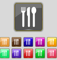 Fork knife spoon icon sign Set with eleven colored vector image