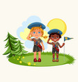 girl and boy saluting standing on green meadow vector image