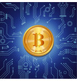 golden bitcoin on blue digital background vector image vector image