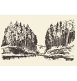 Hand drawn landscape lake and fir forest vector image vector image
