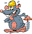 Hand-drawn of an Rat holding a Drill vector image vector image