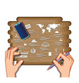 hands with social media set icons in wooden vector image