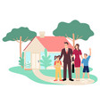 happy family in front their house vector image