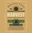 harvest retro poster sunflower and combine vector image