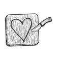 heart symbol carved with knife in wood sketch vector image