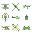 helicopter icons set line color vector image vector image