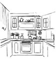 kitchen interior drawing furniture sketch vector image