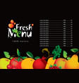 menu for juice and fresh juice from various fruits vector image