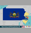 new jersey and pennsylvania united states vector image vector image