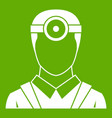 ophthalmologist with head mirror icon green vector image vector image