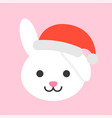 rabbit wearing santa hat flat icon design vector image vector image
