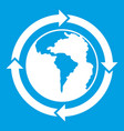 round arrows around world planet icon white vector image vector image