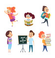 school childrens back to school characters vector image vector image