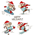 Set Of Cartoon Monkey Icons Doing Winter Sports vector image vector image