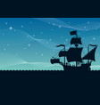 ship sailing night vector image