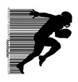 silhouette a football player and barcode rugby vector image