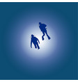 silhouettes of diving diving silhouettes on a vector image vector image