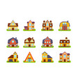 suburban two story houses and cottages set real vector image vector image