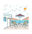 summer landscape with pair of deck chairs exotic vector image vector image
