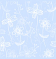 tender blue pattern with spring hand drawn flowers vector image vector image