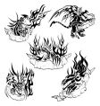 tribal dragons with labels vector image