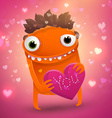 valentines background with monster cartoon vector image