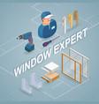 window installing service isometric concept vector image