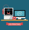 3D Printing Flat Design vector image