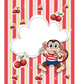 A stationery with cherries and a playful monkey vector image vector image
