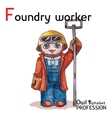 Alphabet professions Owl Letter F - Foundry worker vector image vector image