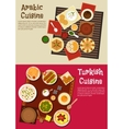 Arabian and turkish cuisine dishes vector image vector image