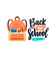 back to school lettering composition and packed vector image vector image