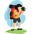 Backpacker Girl Taking Photo vector image