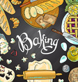 beautiful hand-draw baking on the chalkboard vector image vector image