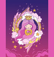 beautiful sweet princess with crown and long pink vector image vector image