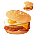 burger with fried egg cheddar cheese beef cutlet vector image