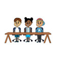 children student sitting in the wood desk vector image vector image