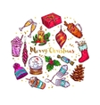 Christmas Sketch Lettering Circle Composition vector image