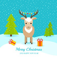 Cute deer with gifts and garland on horns vector image