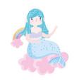 cute mermaid rainbows clouds cartoon isolated icon vector image vector image