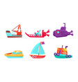cute water transport set toy boat yacht ship vector image