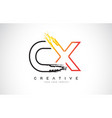 cx creative modern logo design with orange and vector image vector image