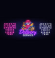 delivery service neon logo fast vector image
