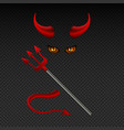 devil horns harpoon satanic yellow eyes and tail vector image
