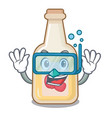 diving apple cider isolated with mascot vector image vector image