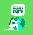 earth day card of mother nature hugging the planet vector image vector image