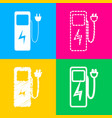 electric car charging station sign four styles of vector image vector image